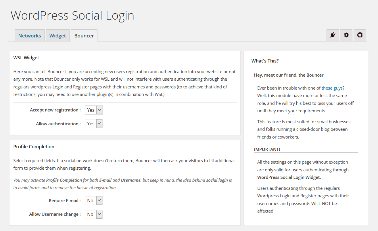 Bouncer - WordPress Social Login